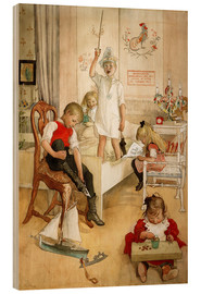 Wood print  On the morning of Christmas Day - Carl Larsson