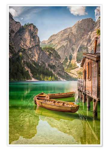 Premium poster Braies Lake