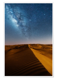 Poster Milky way over dunes, Oman