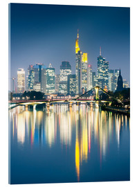 Acrylic glass  Frankfurt skyline reflected in river Main at night, Germany - Matteo Colombo