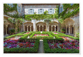 Premium poster  Garden in the cloister of St Paul Mausole abbey, Provence, France - Matteo Colombo