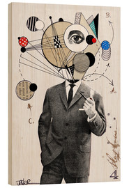 Wood print  the thinking man - Loui Jover
