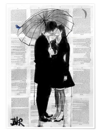 Poster  a little bird, a little moon and a little love - Loui Jover