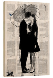 Wood print  a little bird, a little moon and a little love - Loui Jover