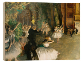 Wood print  The Rehearsal of the Ballet Onstage - Edgar Degas