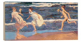 Wood print  Running Along the Beach - Joaquín Sorolla y Bastida