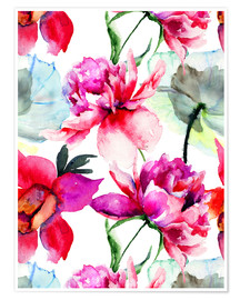 Premium poster Poppies and peonies