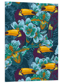 Foam board print  Tropical flowers with toucan