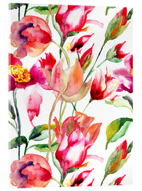 Acrylic glass  Summer flowers in watercolor