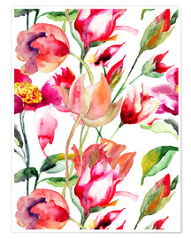Premium poster Summer flowers in watercolor