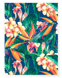 Premium poster Exotic Flowers in Watercolor