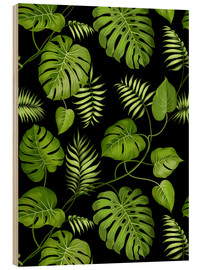 Wood print  Monstera with palms