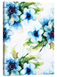 Canvas  Summer flowers in blue