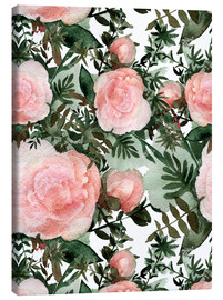 Canvas print  Pink peonies textured