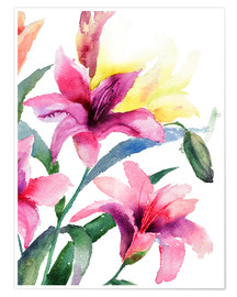 Premium poster  Lilies in pink