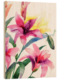 Wood  Lilies in Pink