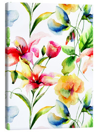 Canvas  Wildflowers in Watercolor