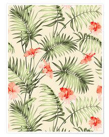 Premium poster  Palm trees and hibiscus