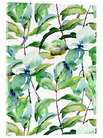 Acrylic print  Leaves in watercolor
