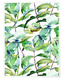 Premium poster Leaves in watercolor
