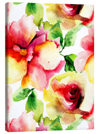 Canvas  Watercolor painting with Rose flowers