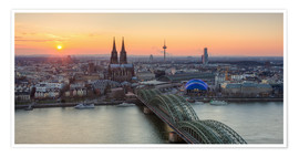 Premium poster  Panorama view of Cologne at sunset - Michael Valjak