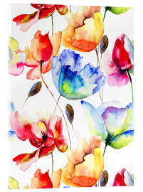 Acrylic print  Poppies and tulips in watercolor