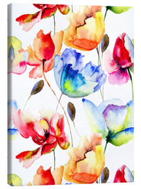 Canvas print  Poppies and tulips in watercolor