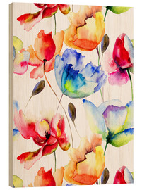 Wood print  Poppies and tulips in watercolor