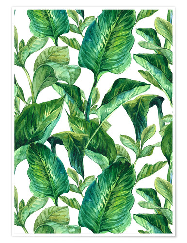 Premium poster Tropical Leaves in Watercolor