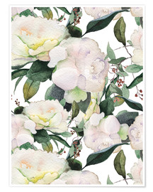 Premium poster White peonies in watercolor