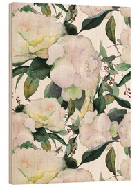Wood print  White peonies