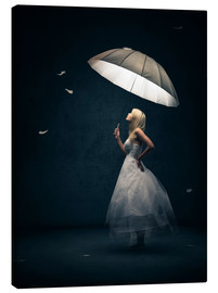 Canvas print  Girl with umbrella and falling feathers - Johan Swanepoel
