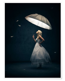 Premium poster Girl with umbrella and falling feathers