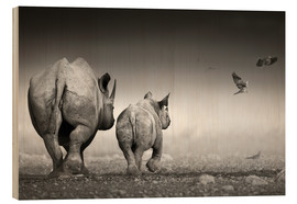 Wood print  Rhino cow with calf - Johan Swanepoel