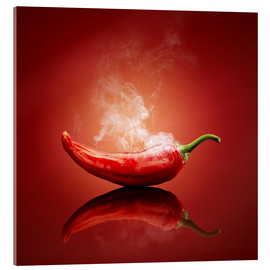 Acrylic glass  Red Hot smoking Chili still life - Johan Swanepoel