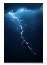 Premium poster  Stormy clouds with flash of lightning - Johan Swanepoel