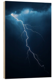 Wood print  Stormy clouds with flash of lightning - Johan Swanepoel