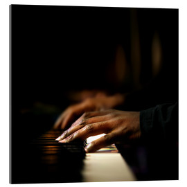 Acrylic print  Close-up of a pianist's hands playing the piano - Johan Swanepoel