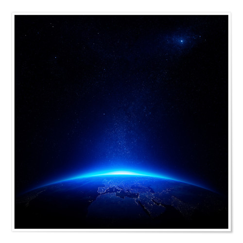 Premium poster Sunrise on earth from space