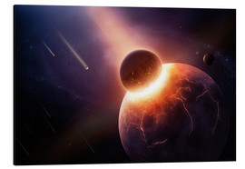 Aluminium print  Planet earth destroyed in collision with asteroid - Johan Swanepoel