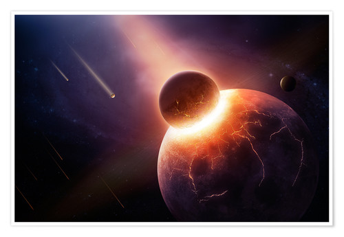 Premium poster Planet earth destroyed in collision with asteroid