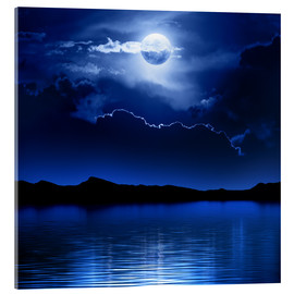 Acrylic glass  Fantasy moon and clouds over water - Johan Swanepoel