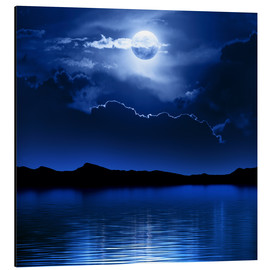 Aluminium print  Fantasy moon and clouds over water - Johan Swanepoel