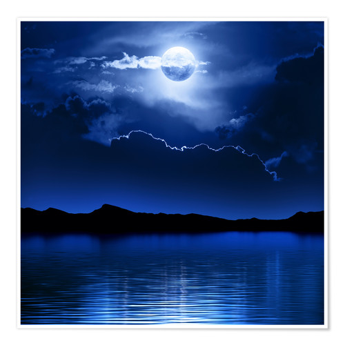 Premium poster Fantasy moon and clouds over water