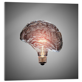 Acrylic print  Conceptual light bulb brain illustrated - Johan Swanepoel