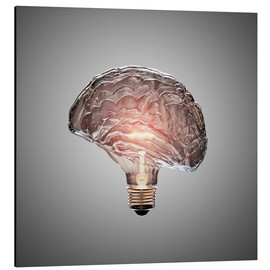 Alu-Dibond  Conceptual light bulb brain illustrated - Johan Swanepoel