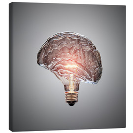 Canvas  Conceptual light bulb brain illustrated - Johan Swanepoel