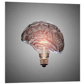 Foam board print  Conceptual light bulb brain illustrated - Johan Swanepoel