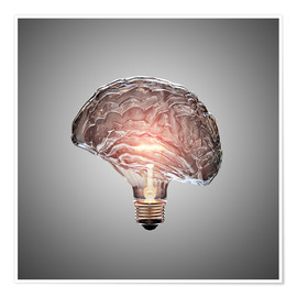 Premium poster Conceptual light bulb brain illustrated